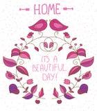 Decoratieve achtergrond met bloemen en vogels en het van letters voorzien van een mooie dag op witte achtergrond, Stock Afbeelding