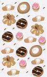 decoratieve achtergrond met de muffins van cakeskoekjes donuts Royalty-vrije Stock Afbeeldingen