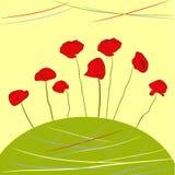 Decoratieve achtergrond met papaverbloemen vector illustratie