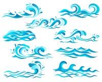Decoratieve blauwe overzeese golven en brandingspictogrammen met krullen van krachtige waterstroom, plonsen en witte schuimkappen Stock Afbeelding