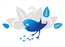 Decoratieve blauwe vogel royalty-vrije illustratie