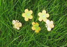 Decoratieve bloemen en vlinders Stock Foto