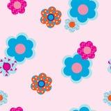 Decoratieve bloemen op roze achtergrond Royalty-vrije Stock Afbeeldingen