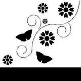 Decoratieve bloemen zwarte & witte achtergrond Stock Foto's