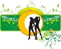 Decoratieve bloemenbanner met silhouetten van meisjes stock illustratie
