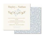 Decoratieve bloemengrens en semmless patroon De uitnodiging van het huwelijk Stock Afbeeldingen