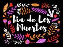 Decoratieve bloemengroetkaart met inschrijving Dia DE los muertos royalty-vrije illustratie