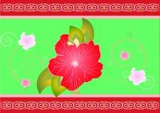 Decoratieve bloemenprentbriefkaar vector illustratie