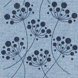 Decoratieve bloempaardebloemen - Binnenlands behang - jeanstextuur Stock Afbeeldingen