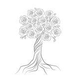 Decoratieve boom met bloemen op wit royalty-vrije illustratie
