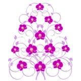 Decoratieve boom met orchideebloemen stock illustratie