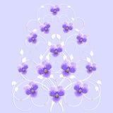 Decoratieve boom met violette bloemen royalty-vrije illustratie