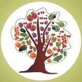 Decoratieve boom met vruchten en groenten Stock Fotografie