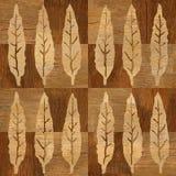 Decoratieve boombladeren - naadloze achtergrond - houten structuur vector illustratie
