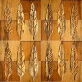 Decoratieve boombladeren - naadloze achtergrond - houten textuur royalty-vrije illustratie