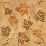 Decoratieve boombladeren - naadloze achtergrond - houten textuur stock illustratie