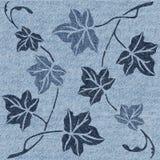 Decoratieve boombladeren - naadloze achtergrond - jeanstextuur royalty-vrije illustratie