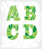 decoratieve 4 brieven van de bladeren Stock Afbeelding