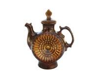 Decoratieve ceramische theepot die op wit wordt geïsoleerde Royalty-vrije Stock Afbeeldingen