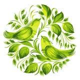 Decoratieve cirkel groene paradijsvogels Royalty-vrije Stock Foto's