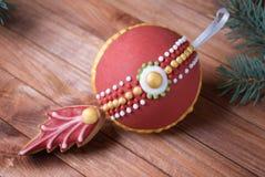 Decoratieve 3d Kerstmis van het peperkoekkoekje, Nieuwjaarstuk speelgoed Stock Foto's