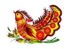 Decoratieve de bloemenvector van de vogel Stock Afbeelding