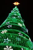 Decoratieve de Lichtenvertoning van de winterkerstmis van Kerstboom royalty-vrije stock foto's