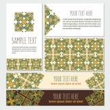 Decoratieve die malplaatjebanner en kaart met overladen samenvatting wordt geplaatst Stock Afbeeldingen