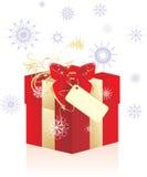 Decoratieve doos met sneeuwvlokken en rode boog stock illustratie