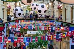 Decoratieve elementen met de symbolen van de Wereldbeker 2018 in het warenhuis Royalty-vrije Stock Foto