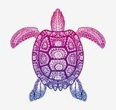 Decoratieve etnische schildpad met sierpatroon Vector stammentotemdier royalty-vrije illustratie