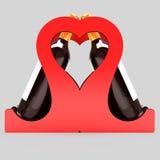 Decoratieve flessentribune voor wijn in de vorm van een hart op een huwelijksthema 3D Illustratie Stock Foto's