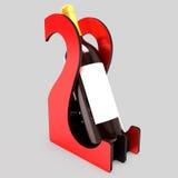 Decoratieve flessentribune voor wijn in de vorm van een hart op een huwelijksthema 3D Illustratie Royalty-vrije Stock Fotografie