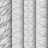 Decoratieve geplaatste golven naadloze patronen Stock Fotografie