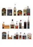Decoratieve geplaatste huizen Stock Afbeelding