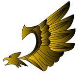 Decoratieve, gestileerde, gouden (Engelse) adelaar. Royalty-vrije Stock Fotografie