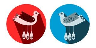 Decoratieve gestileerde vogels met lange schaduw Royalty-vrije Stock Foto's