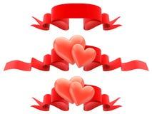 Decoratieve grenzen van harten met lint. stock illustratie