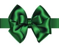 Decoratieve groene boog met horizontaal die lint op wit wordt geïsoleerd Royalty-vrije Stock Fotografie