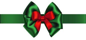 Decoratieve groene en rode boog met horizontaal lint Vectorboog voor paginadecor De Decoratie van het nieuwjaar Royalty-vrije Stock Afbeelding