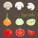 Decoratieve groenten Champignon ui Tomaat Groenten op een achtergrond Stock Foto
