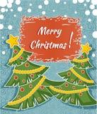 Decoratieve groetkaart met Kerstmisbomen Royalty-vrije Stock Afbeeldingen