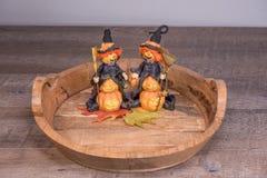 Decoratieve Halloween-heksen die voor de enge partij voorbereidingen treffen Stock Afbeeldingen