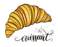 Decoratieve hand getrokken krabbel vectorillustratie Verse croissant die op witte achtergrond wordt geïsoleerdg Zoet woestijnmenu Royalty-vrije Stock Afbeelding