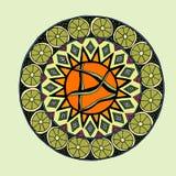 Decoratieve hand getrokken mandala met verschillend geometrisch element Royalty-vrije Stock Foto