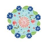 Decoratieve hand getrokken mandala met verschillende bloemen, antistres Royalty-vrije Stock Foto's