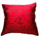 Decoratieve hoofdkussen rode kleur die op het wit wordt geïsoleerd, Stock Foto's