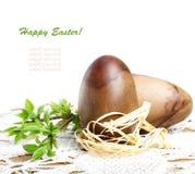 Decoratieve houten paaseieren met groene tak Royalty-vrije Stock Fotografie