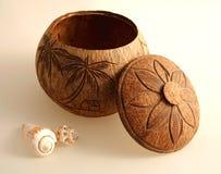 Decoratieve houten pot royalty-vrije stock fotografie