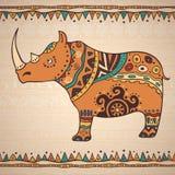 Decoratieve illustratierinoceros Royalty-vrije Stock Fotografie